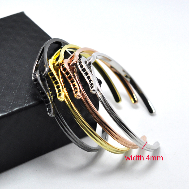 ea8a25ebabc FYSARA Punk Lover Cuff Bangle Black Gold Color Wristband Bracelets Crystal  Zircon Jewelry Couple Adjustable Bracelets & Bangles-in Bangles from Jewelry  ...