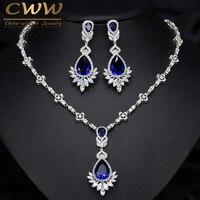 CWWZircons AAA Quality Cubic Zirconia Big Drop Royal Blue Bridal Wedding Evening Earring Necklace Jewelry Set