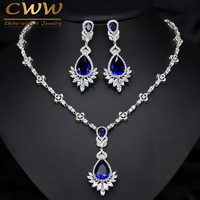 CWWZircons AAA Quality Cubic Zirconia Big Drop Royal Blue Bridal Wedding Evening Earring Necklace Jewelry Set