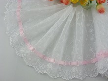 Wholesale lot 6*1yard delicate white embroidered flower tulle lace trim with pink ribbon 317