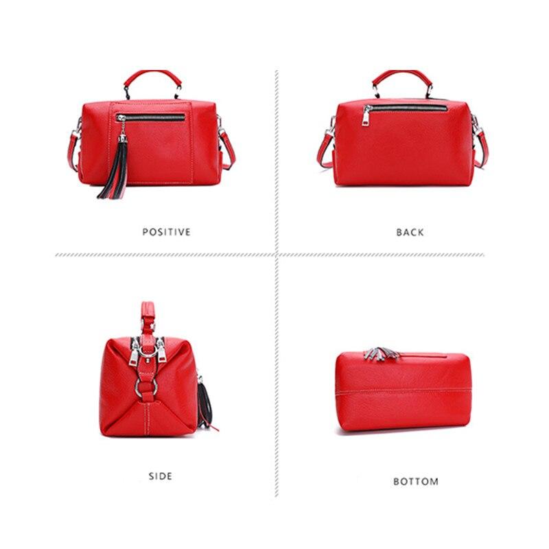 The First Layer of Leather Boston Bag Female Messenger Bag Leather Handbag Tassel Shoulder Bag strap removable personality purse - 2