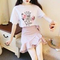 Two Piece Set Skirt and T Shirt Women irregular Skirt Set Summer 2018 Flower Print Tees Top + Ruffles Stripe Skirt Blue Pink Set