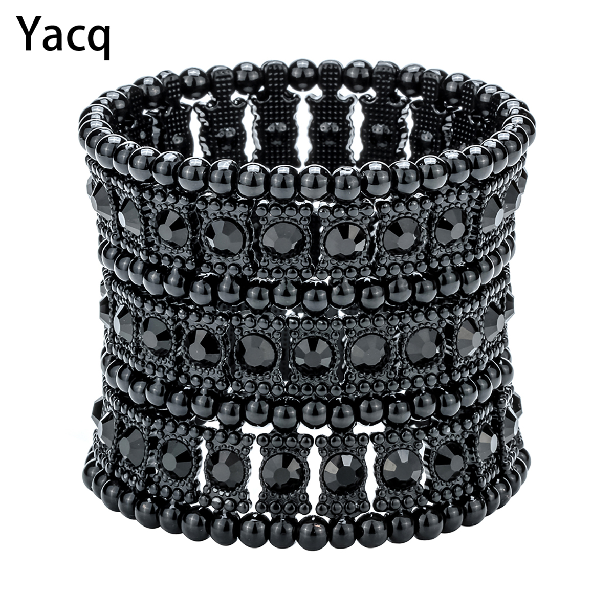 Yacq Multilayer Peregangan Cuff gelang Wanita Kristal Wedding Bridal Party Fashion Jewelry Hadiah B11 Perak Emas Hitam Dropshipping