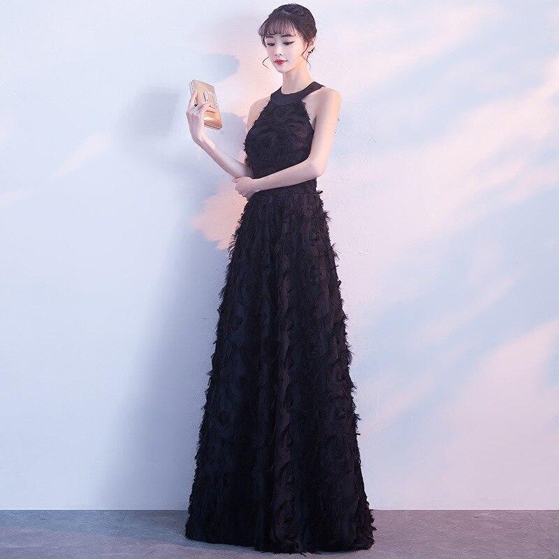 607f6720b1 To YiiYa suknia wieczorowa czarny halter kołnierz Sexy bez rękawów  elegancka linia Dinner Party sukienki sukienka