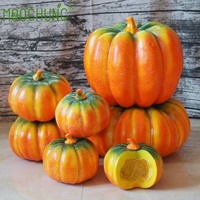 MOOCHUNG Artificial Realistic Fall Harvest Pumpkin for Photo Props Halloween Home Decoration Fake Fruit Ornaments 15 25cm