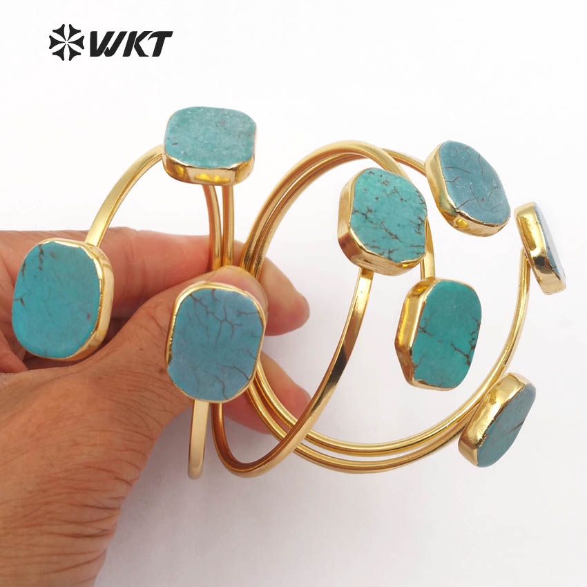 WT-B097 velkoobchod 24K zlato galvanicky nastavitelné zelené vytáhlé náramky přírodní zelený kámen nastavitelné náramky módní náramek