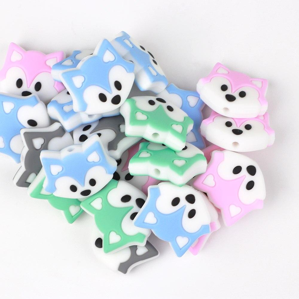 100 pièces perles de Silicone renard sans BPA sucette chaîne perles bébé jouets de dentition infantile soins infirmiers dentition enfant en bas âge cadeau