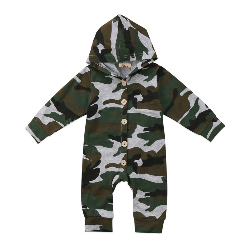Newborn Baby Boys Girls Infant Camouflage Print Long Sleeve Cotton Hooded Kids One-Piece Romper Jumpsuit Jumper Outfits Clothes