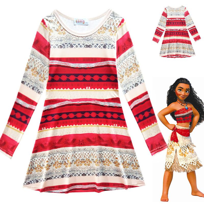 Moana Dresses Princess Moana Costumes Chidren Dresses Little Girls Outfit Beach Dress Kids Halloween Cosplay Dresses Clothing ...