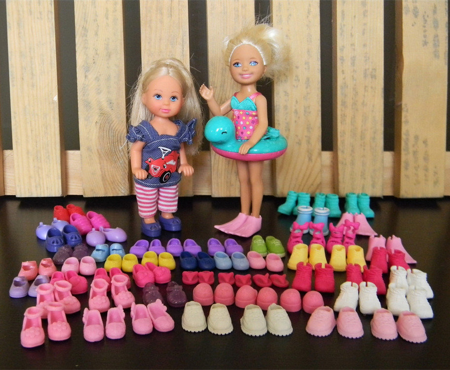 ФОТО wholesale 30pairs/lot multi-style cute mini doll shoes fashionable simba little kelly dolls sandles slippers boots kid toy shoes