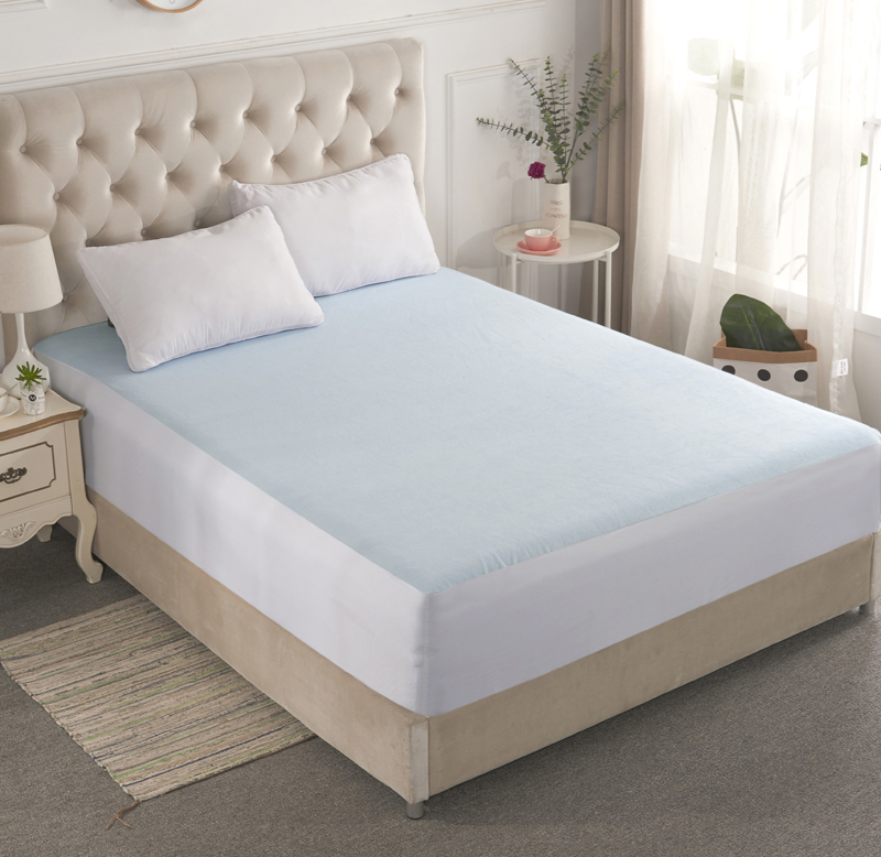Light Blue Solid Cotton 1Pcs Waterproof And Breathable Cotton Bed Sheet Fitted Sheet Satin Sheets Silk Sheets Mattress Cover