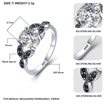 [BLACK AWN] 925 Sterling Silver Ring Fine Jewelry Trendy Engagement Bague Wedding Rings for Women Size 5 6 7 8 9 10 C035