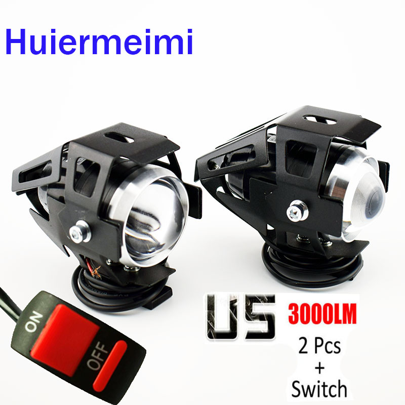Huiermeimi 2pcs 125w Motorcycle Headlights Auxiliary Lamp U5 Led Motobike Spotlight Accessories Moto Driving Fog Spot Head Light Home