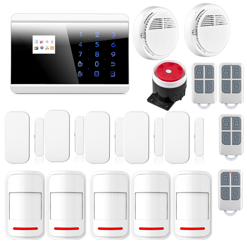 Wireless GSM PSTN Touch Screen Home Alarm System Android iOS APP Smoke Fire PIR Door Alarm Sensor For Home Burglar 8218G wireless smoke fire detector for wireless for touch keypad panel wifi gsm home security burglar voice alarm system