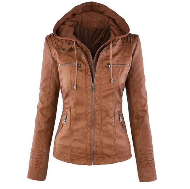 2018 fashion detachable lapel long-sleeved solid color zipper   leather   jacket ultra-short jacket XL women's pu   leather