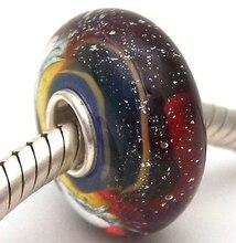 JG1086 100% S925 Sterling Silver Beads Murano Glass beads Fit European Charms Bracelet charms diy jewelry Lampwork GlassBeads недорого