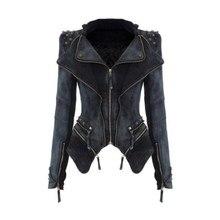Women Denim Jackets plus size 6XL Tops Autumn winter fashion Coat Rivets zipper For Women Clothing chaquetas mujer high quality