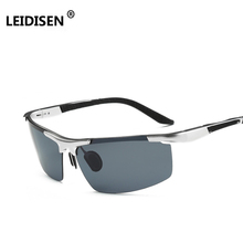 e8cf1a3709e9 LEIDISEN Men Polarized Sunglasses Aluminum Magnesium Sun Glasses For  Fishing Driving Rectangle Rimless Shades(China