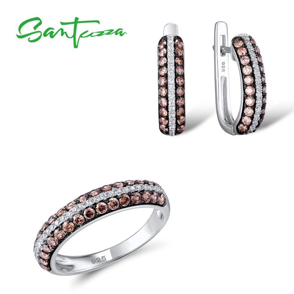 Santuzza Серебряные ювелирные изделия набор Свадебные CZ шоколад Камни кольцо Серьги Комплект 925 серебро Модные украшения комплект