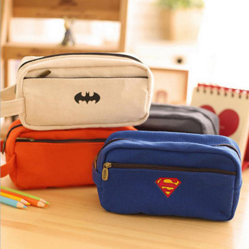 High-capacity Transformers Batman Captain America Superman Pencil Case Oxford Box Office School Stationery Cosmetic Bag