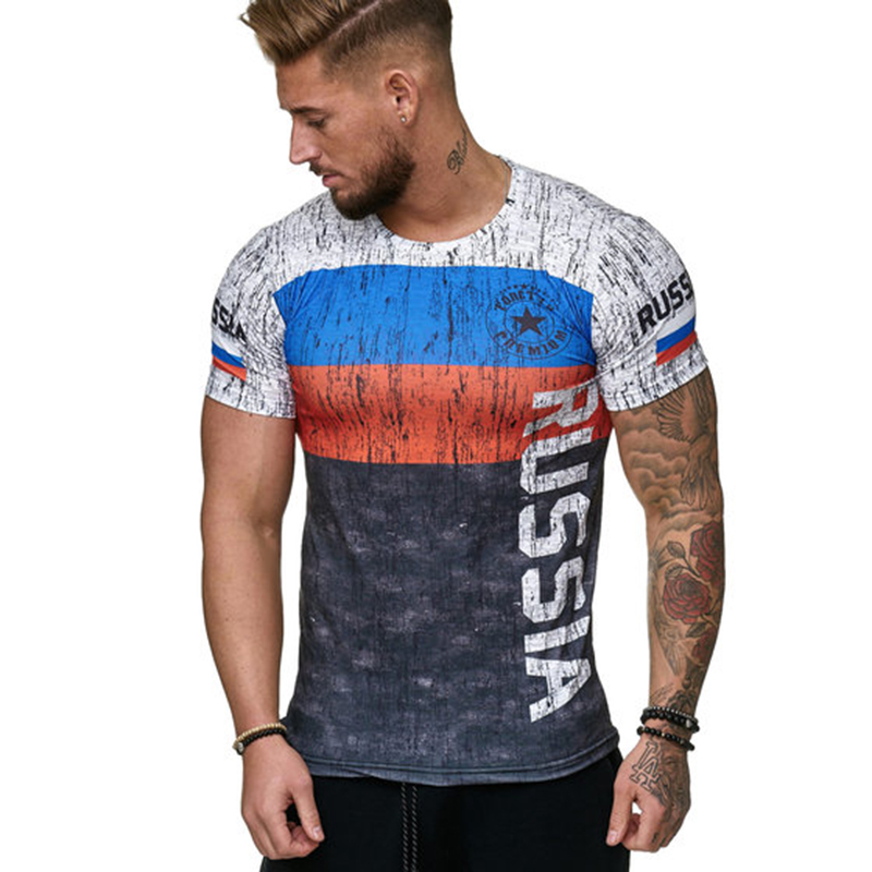 Sweden Spain Portugal Russia   T     Shirt   2019 New Fashion Flag Print Short Sleeve   T     Shirt   Men Summer Casual Daily Sportswear   T  -  Shirt