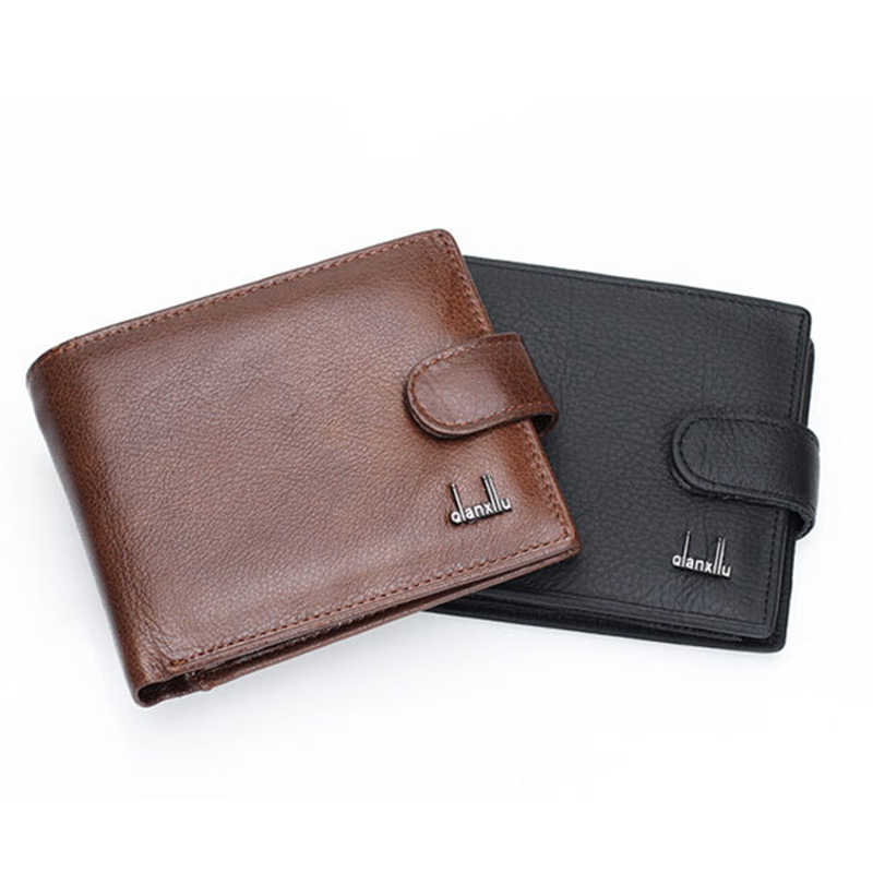 Design Genuine Leather Coin Purses Solid Men Wallets Credit Card Holders Hasp Cow Leather Male Business Clutch Money Bags