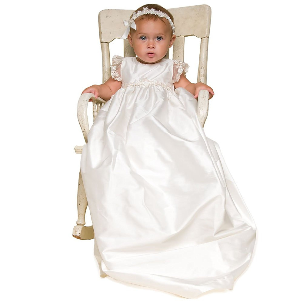 New Baby Birthday Dresses Baby Girls Long Christening Gowns Infant Baby Girl Baptism Dresses with Headband hot sale new knee length white and lace baby girl baptism dresses baby dresses baby girl dresses