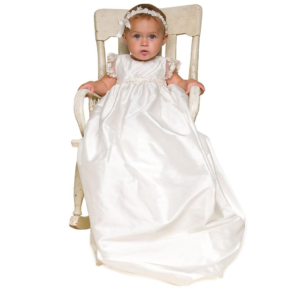 Nouveau bébé robes d'anniversaire bébé filles longues robes de baptême infantile bébé fille robes de baptême avec bandeau