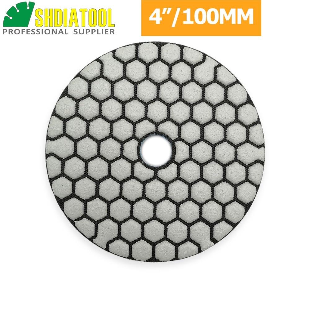 "Image 3 - SHDIATOOL 6pcs 4""/100mm Grit 50 Diamond Dry Polishing Pad Granite Marble Flexible Resin Sanding Disc Ceramic Stone Polisher disc-in Polishing Pads from Tools"