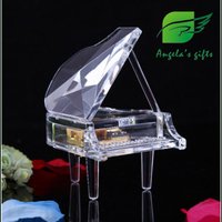 Acrylic box Piano music box, musica instrument gifts for girls, wedding decoration, home decor free shipping Angela's gifts