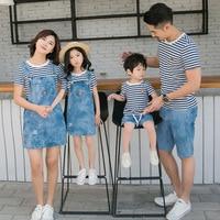 Family Look Mother Daughter Dress Summer Denim Strap Dress Set Father Son Stripe T Shirt+denim Short 2pcs Family Matching Outfit