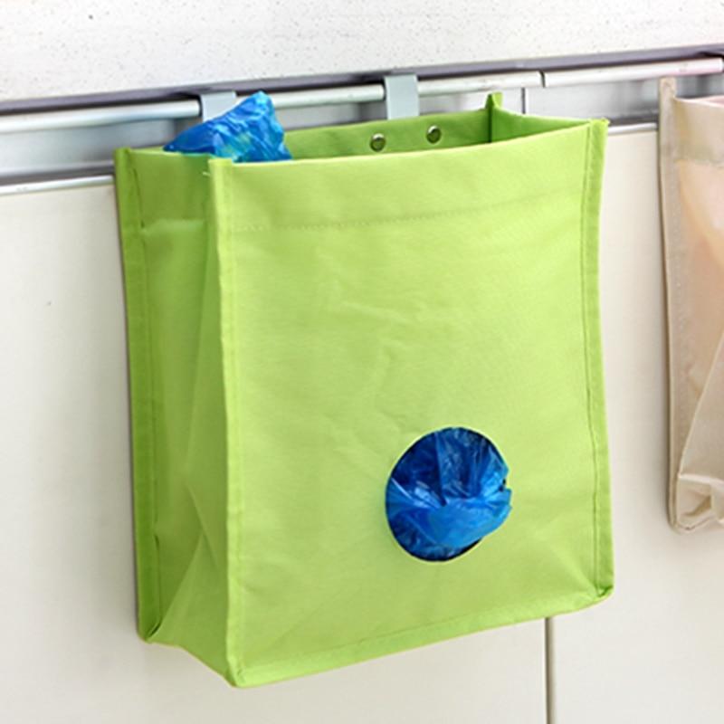 1PC Creative Storage Bag Sundries Disposable Bag Organizer Trash Can Storage Hanging Rubbish Holder Oxford Kitchen Accessories