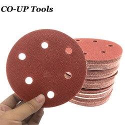 Шлифовальная бумага для полировки, 100 шт., 125 мм, 5 дюймов, с 8 отверстиями, набор шлифовальных дисков для полировки, 40Grit-2000Grit