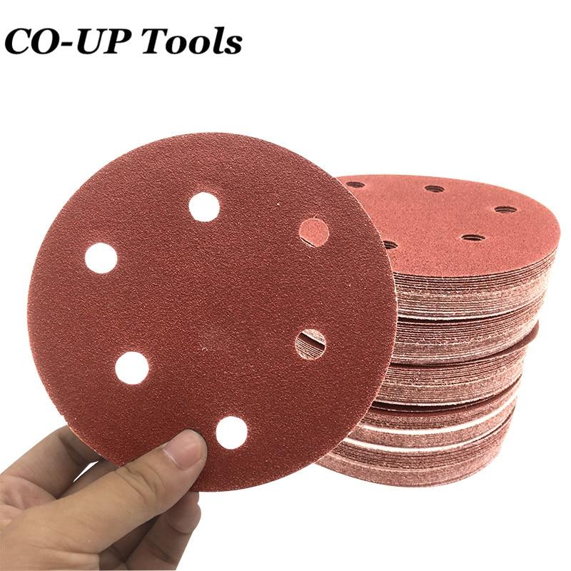 50 piezas 125mm Discos de lijado de alúmina Sander papel de arena en forma de discos de pulido discos arena disco de lijado de la herramienta accesorio