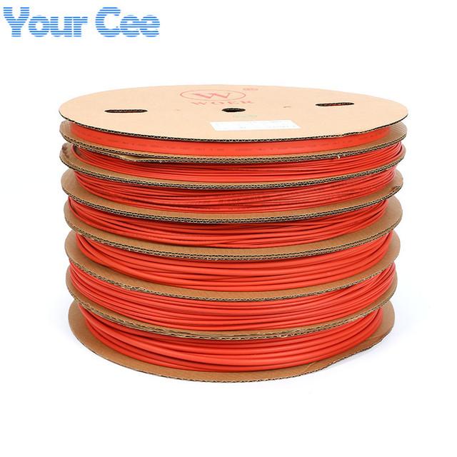 Um Rolo de 100 m 2:1 Heatshrink tubulação Do Psiquiatra Do Calor Tubo Variedade UL SGS Heatshrink Vermelho 5mm 6mm 8mm 10mm