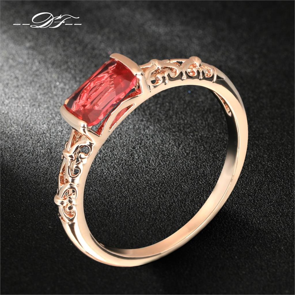 Double Fair DFR368 Vintage Red Crystal Rings Rose Gold Color/Silver Tone Fashion Brand Retro Rhinestone Ring Jewelry For Women
