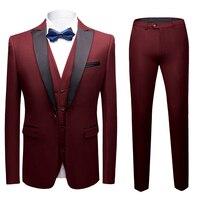 Красное вино заостренный лацкан мужские свадебные костюмы смокинг Slim Fit Для мужчин костюмы брендовые Блейзер Masculino платье костюм для Для му