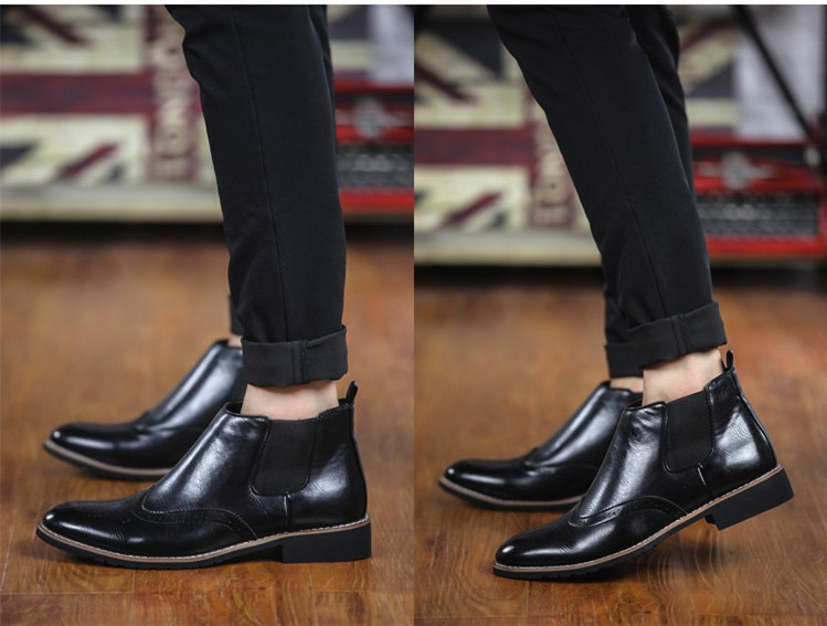 LOVE Spring Autumn Men\'s Chelsea Boots Casual Round Toe Brogue Leather Boots For Men Ankle Boots Square Heel Dress Shoes F107 (14)