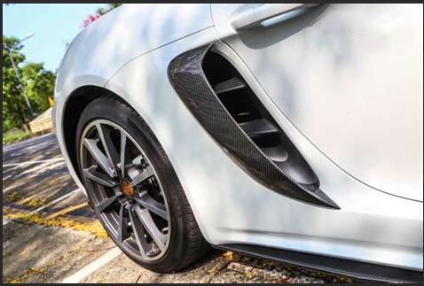 Настоящее углеродного волокна боковые вентиляционные отверстия сбоку воздухозаборниками Вентс подходит для Porsche 718 Boxster Cayman 2016 2018 GT4 Стиль