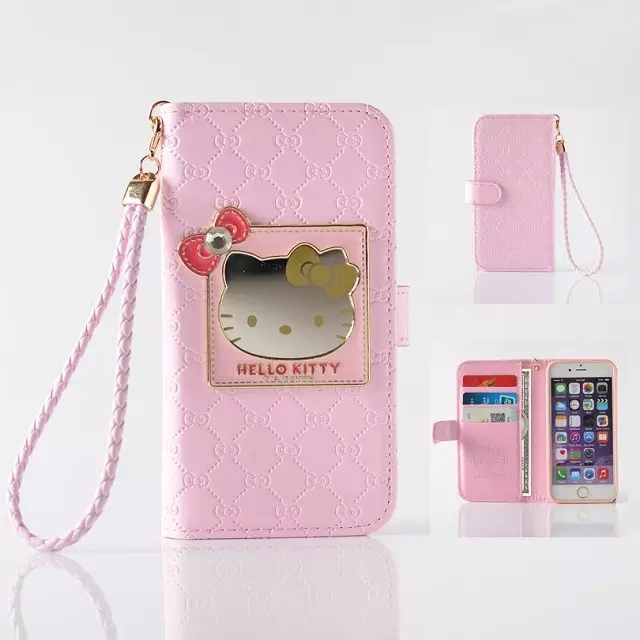 2b9690396 Fashion Women Girl Lanyard Hello Kitty Flip Wallet Stand Leather Case For iPhone  7/7 Plus 6 6S / Plus With 6 Card Holders Cover