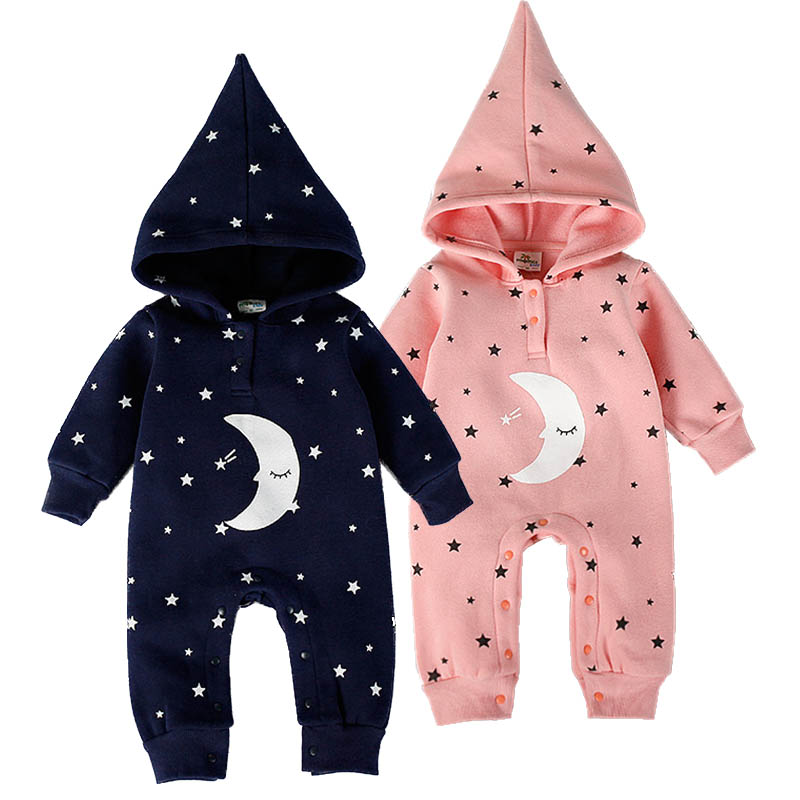 Fashion Baby Boys Girls Romper Spring Newborn Baby Clothes Cotton Flannel Warm Hooded Rompers Moon Star Baby Jumpsuit Clothing sr118 baby rompers 2016 spring newborn cotton pajamas clothes bebe long sleeve hooded romper infant overall boys girls jumpsuit