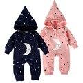 Moda Bebê Meninos Meninas Primavera Romper a Roupa Do Bebê Recém-nascido Macacão de Flanela de Algodão Com Capuz Quente Da Estrela Da Lua Do Bebê Roupas Macacão