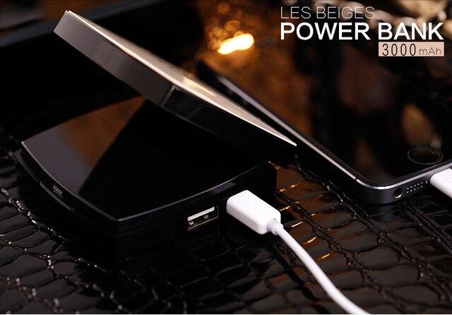 2016 мода подарки 2c макияж Зеркало Power Bank 3000 мАч Высокое Качество Внешний косметический случай Powerbank портативное зарядное устройство