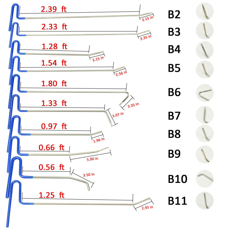 10pcs PDR Tools Rods Hooks Car Crowbar Pump Wedge Hand Toolkit Paintless Dent Repair Tools Dent Removal Tool Set Herramientas