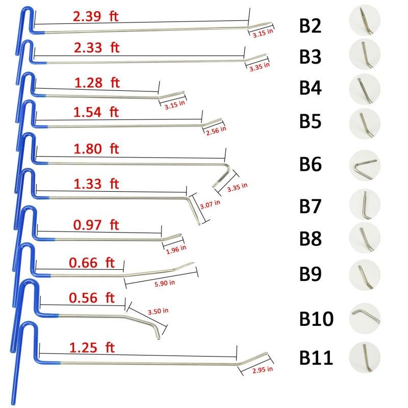 10 pcs PDR outils Tiges Crochets De Voiture Pied de Biche Pompe Wedge main Boîte À Outils Débosselage sans peinture Outils Dent Removal Tool Set herramientas