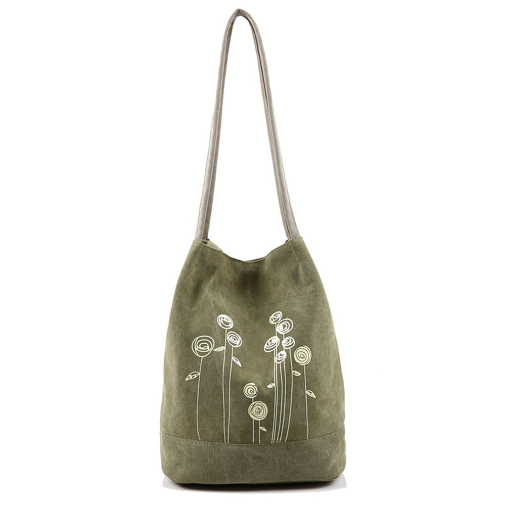 Spring And Summer Shoulder Bag Canvas Women Handbags Bucket Ladies Handbags Casual Big Female Floral Tote Bag spring of women s shoulder bag with canvas belt and studs design