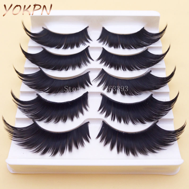 YOKPN Winged Exaggerated False Eyelashes Soft Long Section Thick Cross Messy Lashes Performing Arts Stage Makeup Fake Eyelashes