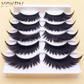 YOKPN Winged Exaggerated False Eyelashes Soft Long Section Thick Cross Messy Lashes Performing Arts Stage Makeup Fake Eyelashes