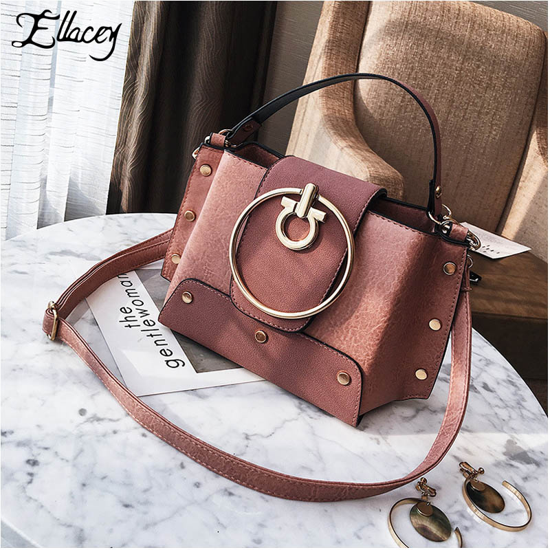 2017 Women Metal Ring Shoulder Bag Vintage Trapeze Bag PU Leather Round Ring Messenger Crossbody Bag Handbag Ladies Mujer Bolso feral cat ladies hand bags pvc crossbody bags for women single trapeze shoulder bag dames tassen handbag bolso mujer handtassen