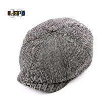 Fashion Eight Panel Herringbone Tweed Newsboy Cap Ivy Irish Driving Fl